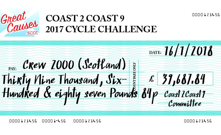 Cheque for £39,687